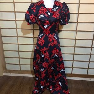 Vintage Dresses - Vintage 60s long dress red navy white retro
